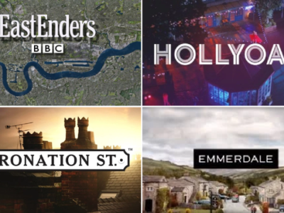 Main UK soap logos: Eastenders, Hollyoaks, Coronation Street, Emmerdale